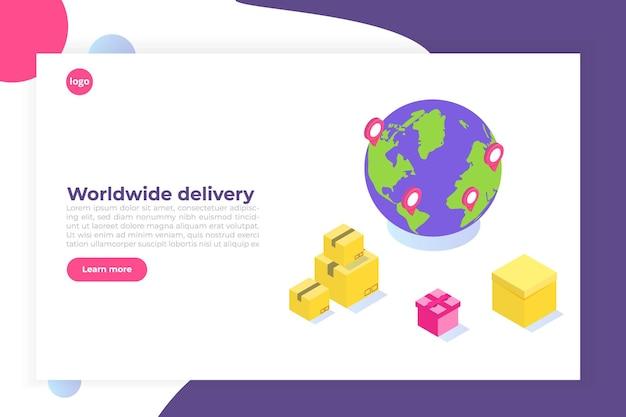 Consegna internazionale in tutto il mondo, logistica globale, concetto isometrico di trasporto merci.