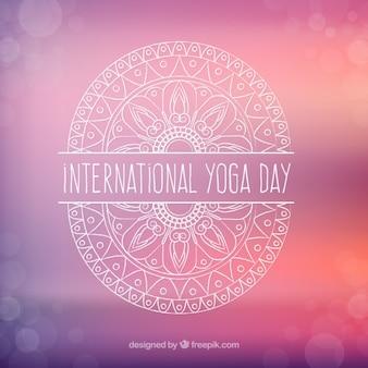 Sfondo internazionale giornata yoga con disegnata a mano ornamento Vettore Premium