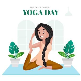 Modello di progettazione di banner di giornata internazionale di yoga