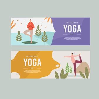 Modello di vettore di banner per la giornata internazionale dello yoga