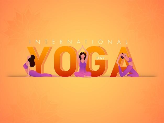 Concetto internazionale di giorno di yoga con le ragazze del fumetto che praticano yoga nelle pose differenti sul fondo arancio del fiore di pendenza.