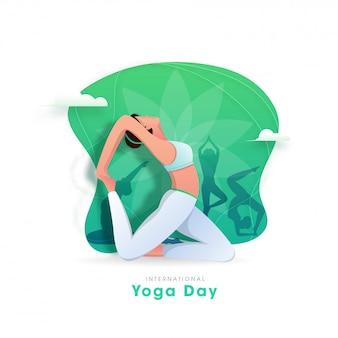 Concetto internazionale di giorno di yoga con yoga facente femminile asana nelle pose differenti su fondo astratto.