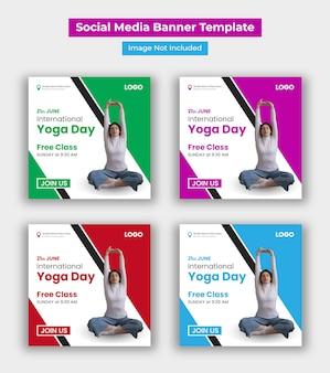 Modello di post social media giornata internazionale dello yoga Vettore Premium
