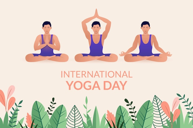 Giornata internazionale dello yoga con vista frontale di un giovane seduto in posizione di meditazione