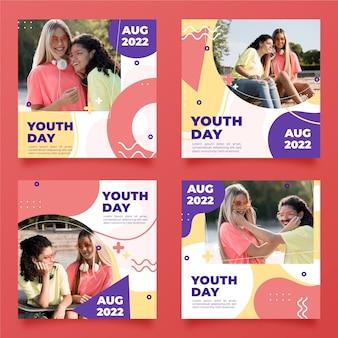 Raccolta di post per la giornata internazionale della gioventù con foto