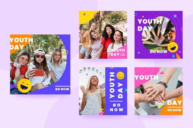 Raccolta di post della giornata internazionale della gioventù con foto