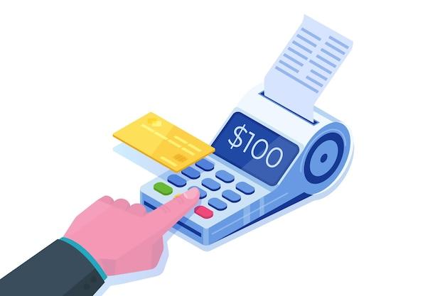 Internet banking, pagamento mobile digitale, concetto isometrico terminale pos isometrico.