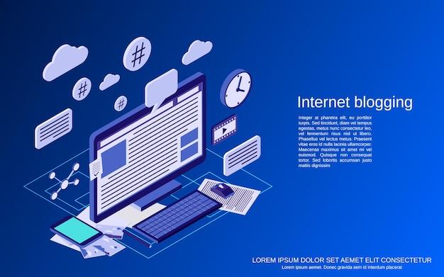 Blogging su internet, gestione di blog, illustrazione di concetto di vettore isometrico piatto di pubblicazione web