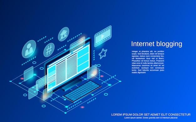Illustrazione di concetto di vettore isometrico piatto 3d di internet blogging