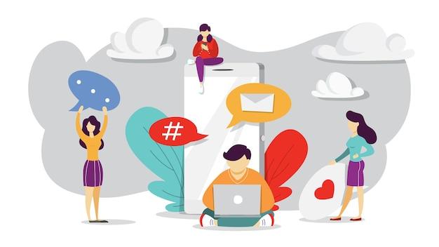 Comunicazione internet nei social network. connessione wireless in linea. concetto di tecnologia moderna globale. illustrazione