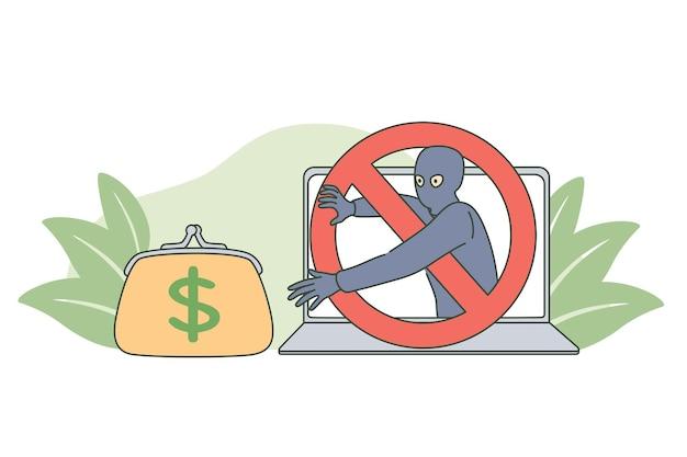 Concetto di criminalità su internet e frode di denaro Vettore Premium