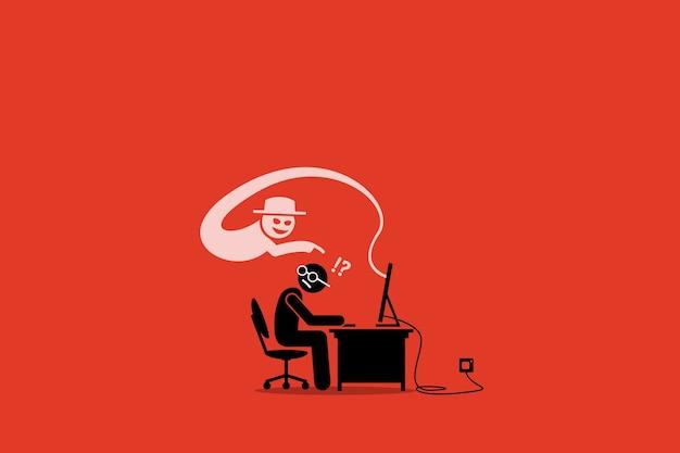 Internet cyber scammer che cerca di imbrogliare un utente internet.