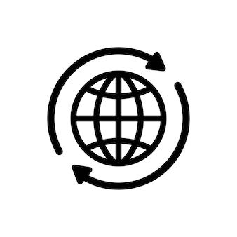 Icona di internet. icona del globo terrestre internazionale del mondo. globo rotondo con 2 frecce di sincronizzazione intorno all'icona. siluetta di simbolo del globo. icone del mondo