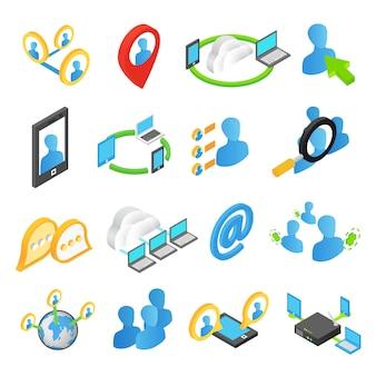 Set di icone 3d isometrica di internet
