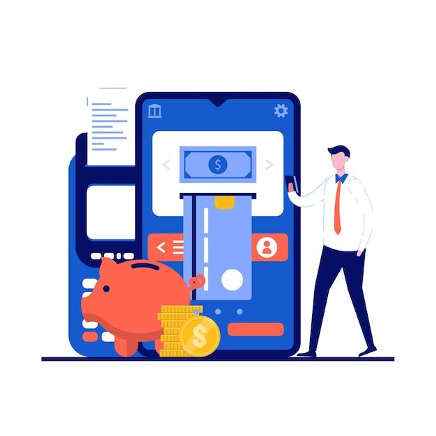 Concetto di pagamento mobile internet con carattere. persone in possesso di moneta sullo smartphone.