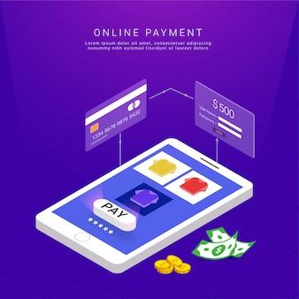 Pagamenti via internet con carta e pulsante paga.
