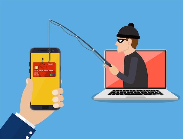 Concetto di attacco di phishing e hacking su internet.