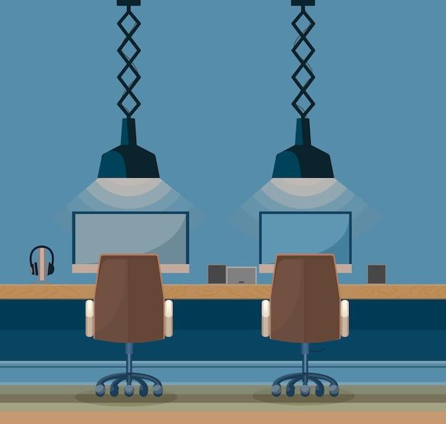 Sala internet arredamento moderno. e una grande e bellissima lampada.