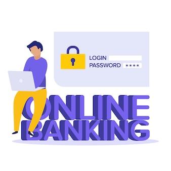 Sicurezza in internet. verifica del conto bancario online concetto. illustrazione personaggio piatto. accedi all'account, autorizzazione utente, concetto di pagina di autenticazione di accesso. nome utente, campo password.