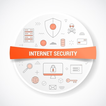 Sicurezza internet con il concetto con illustrazione di forma rotonda o circolare