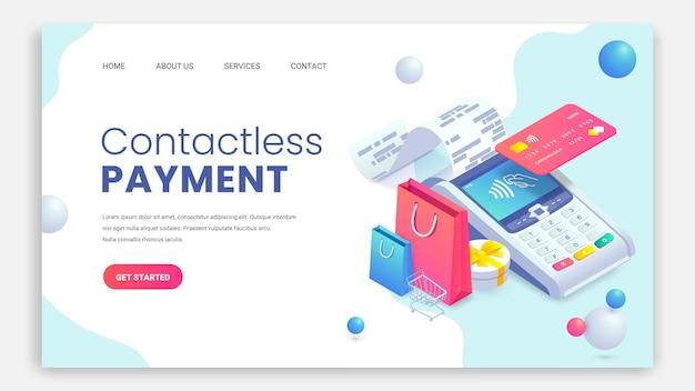 Concetto di pagina di destinazione isometrica di acquisto di internet. pagamenti contactless terminale di pagamento nfc.