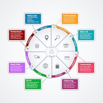 Modello di infografica di carta del internet di acquisto