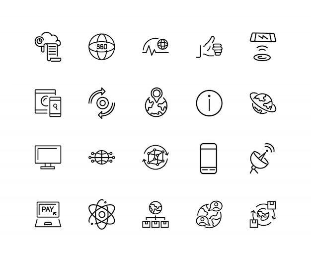Icone di tecnologia internet. set di venti icone di linea. cloud, social media, pollice in su.