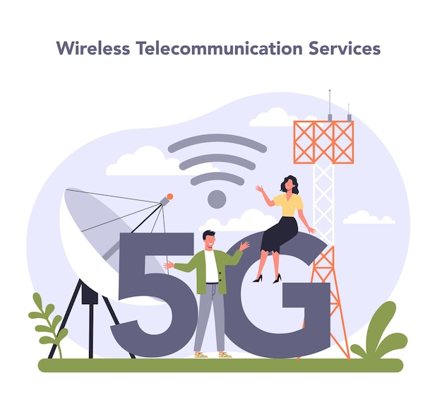 Settore dei servizi di telecomunicazione internet dell'economia. illustrazione vettoriale piatto isolato