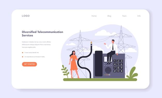 Settore dei servizi di telecomunicazione internet dell'economia banner web o landing page. industria della tecnologia wireless. infrastruttura di comunicazione globale moderna. illustrazione vettoriale piatto isolato