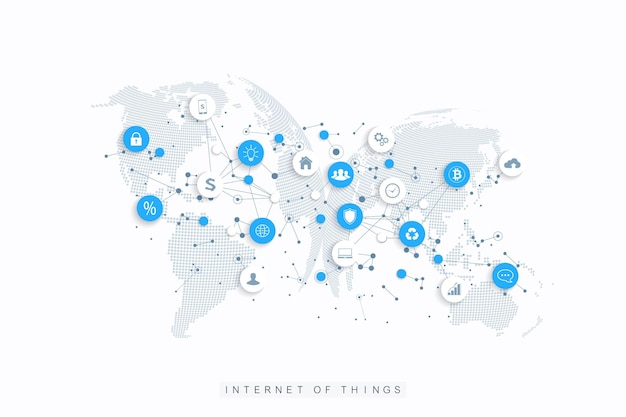 Internet delle cose iot e vettore di progettazione del concetto di connessione di rete. rete di social media e concetto di marketing con globi punteggiati. internet e tecnologia aziendale.