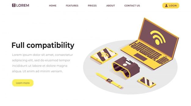 Modello di pagina di destinazione di internet of things