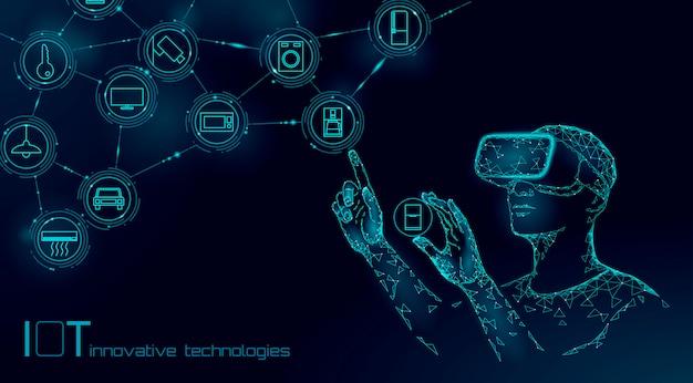 Internet delle cose operazione moderna dal concetto di tecnologia dell'innovazione dei vetri di vr. rete di realtà aumentata di comunicazione wireless iot ict.