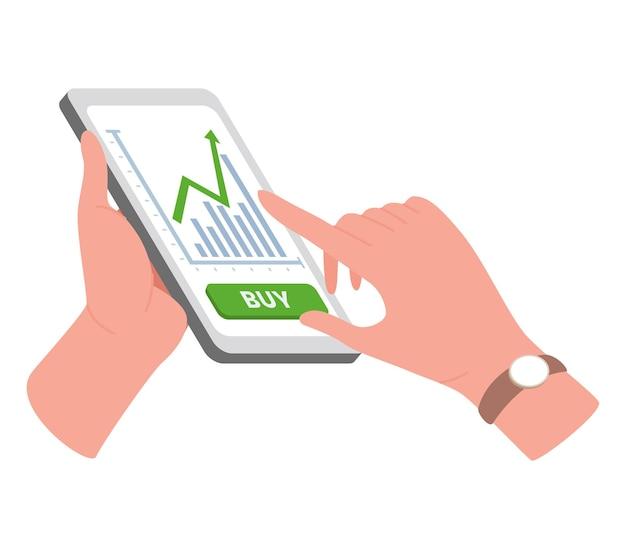 Illustrazione di trading su internet con mani e telefono