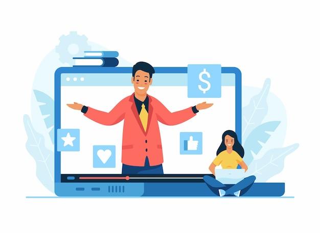Illustrazione piana di concetto di campagna pubblicitaria video su internet