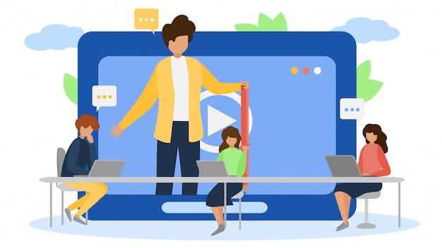 Addestramento online di tecnologia webinar di internet sull'illustrazione dello schermo. comunicazione della conferenza di web del carattere della donna dell'uomo della gente