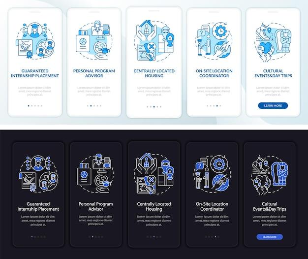 Vantaggi del tirocinio nella schermata della pagina dell'app mobile onboarding