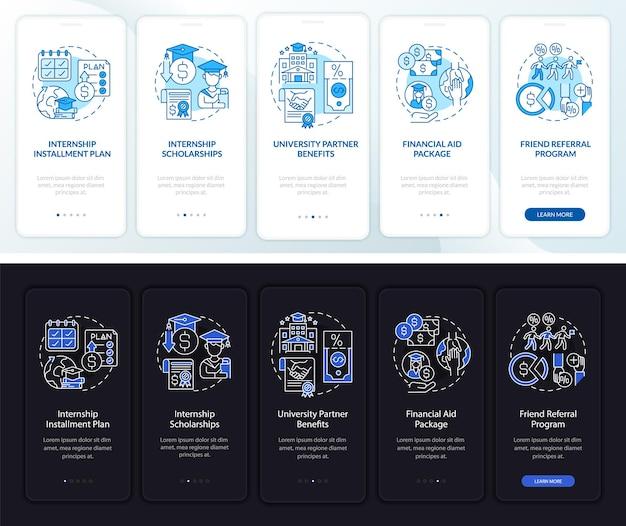 Schermata della pagina dell'app mobile onboarding del finanziamento dello stage