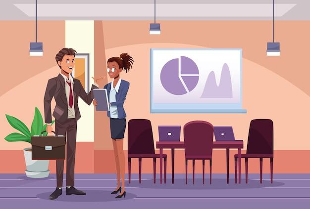 Lavoratori interrazziali delle coppie di affari nell'illustrazione della scena del posto di lavoro