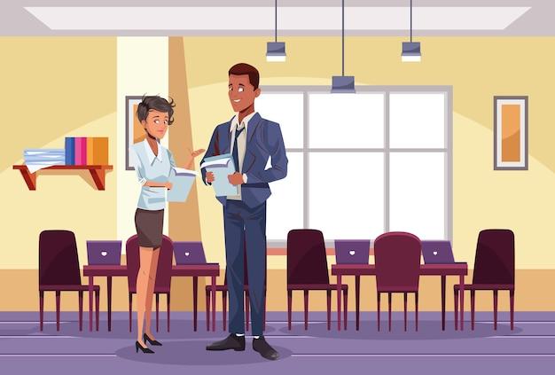 Lavoratori di coppia interrazziale di affari nell'illustrazione del posto di lavoro