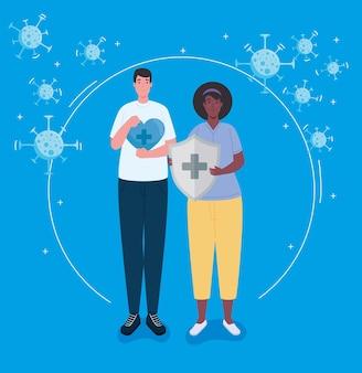 Coppia interrazziale di operatori sanitari con illustrazione dello scudo del sistema immunitario