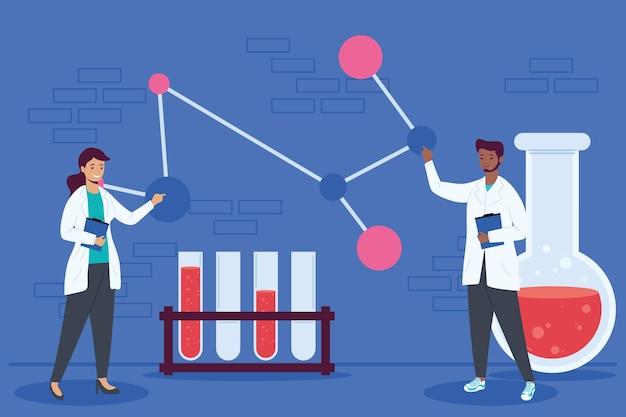 Caratteri di lavoratori scientifici coppia interrazziale