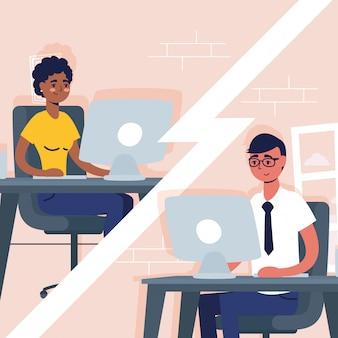 Coppie interrazziali che utilizzano i desktop nella comunicazione di conferenza virtuale