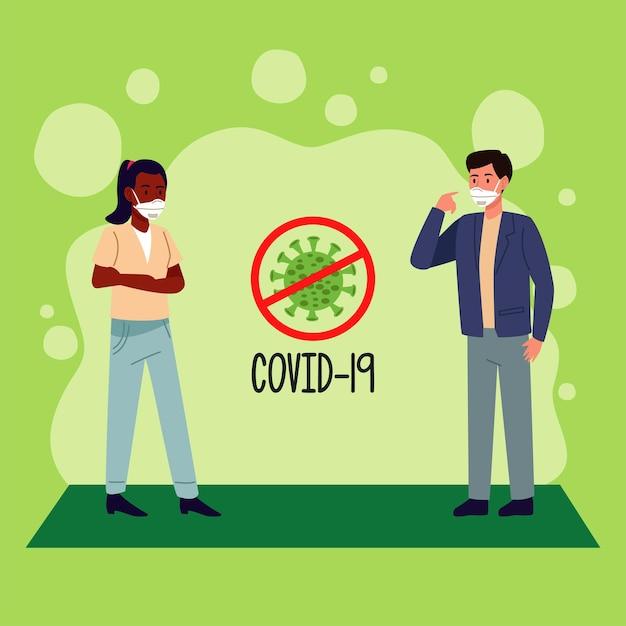 Coppia interrazziale che indossa una maschera medica e ferma la campagna di prevenzione di covid19