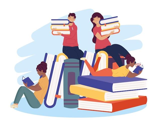 Quattro lettori interrazziali con libri, progettazione dell'illustrazione di celebrazione del giorno del libro