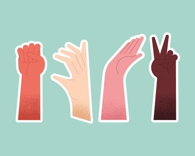 Icone interrazziali della diversità degli esseri umani delle mani
