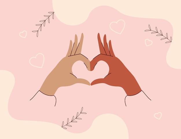 Mani interrazziali che fanno cuore