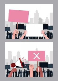 Mani interrazziali persone che protestano sollevando scene di cartelloni e megafoni