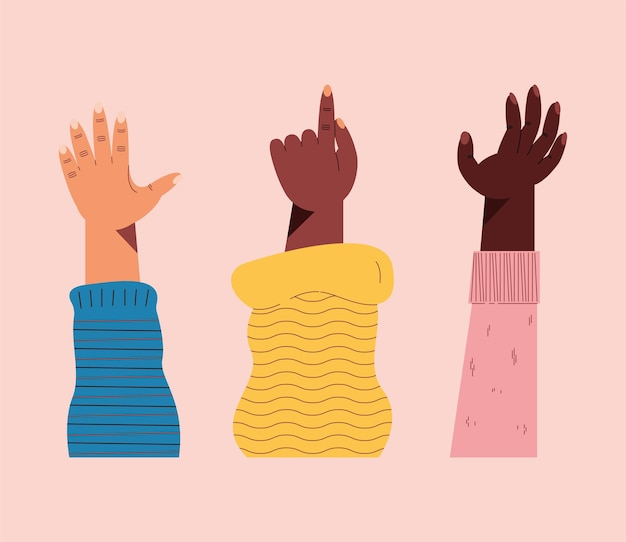 Icone interrazziali con la mano sinistra in alto