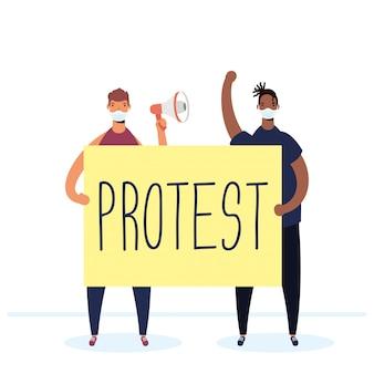 Uomini interrazziali che indossano maschere mediche che protestano con l'illustrazione del cartello e del megafono