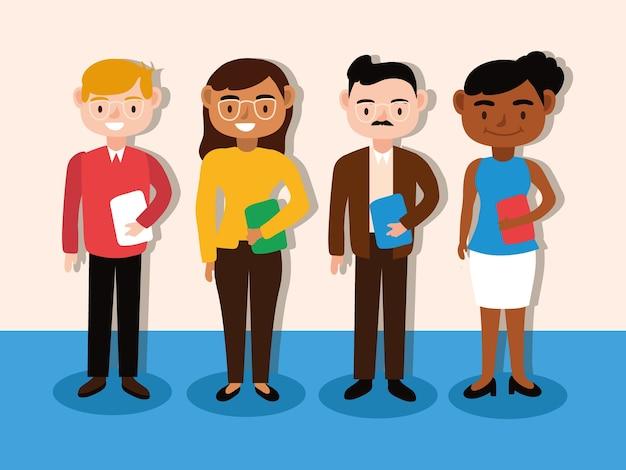 Progettazione dell'illustrazione di vettore dei caratteri dei lavoratori della squadra degli insegnanti interrazziali
